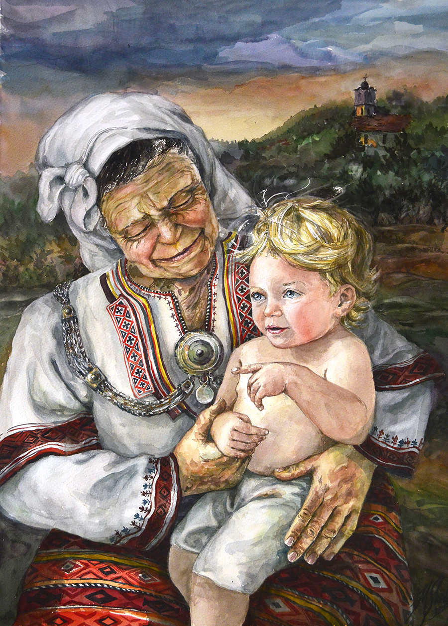 Grandmother and Son Small